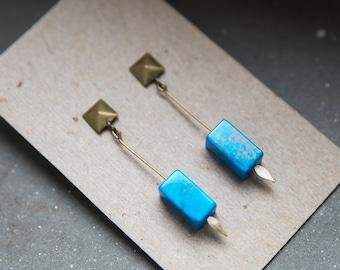 Boho turquoise earrings, howlite earrings, turquoise earrings, howlite minimal, blue howlite, natural howlite, turquoise jewelry