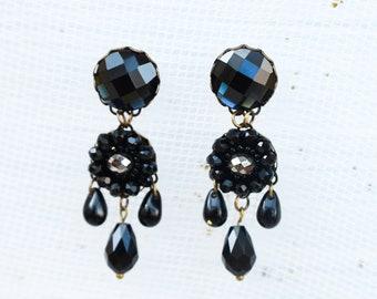 Black glass chandelier earrings, black victorian earrings, black bronze earrings, vintage jewelry, steampunk earrings, gothic earrings