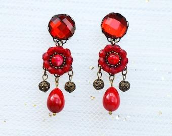 Red chandelier boho earrings, chandelier earrings, boho earrings, red jewelry, red bronze earrings, flower earrings, boho chic earrings
