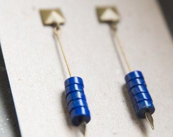 Lapis lazuli earrings, bronze blue earrings, blue gemstone earrings, lapis lazuli stone, blue earrings
