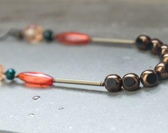 Multicolor beaded necklace, long boho necklace, layered necklace, one strand necklace, dainty Bead necklace, layered and long