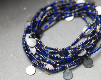 Long blue necklace with coins, coins necklace men, extra long necklace, bracet necklace, boho necklace, gypsy necklace