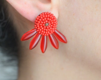 Red 50s earrings, cocktail earrings, rockabilly earrings, red 50s earrings, costume jewelry, vintage earrings, mother day gift
