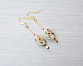 White enamel earrings, white retro earrings, cloissone earrings, white vintage earrings, white jewelry