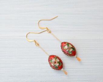 Red enamel earrings, long red earrings, enamel earrings, cloissone earrings, vintage style, red jewelry, red retro earrings