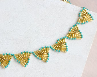 Turquoise and gold Aztec necklace // Triangle bugle bead necklace // Elegant statement necklace