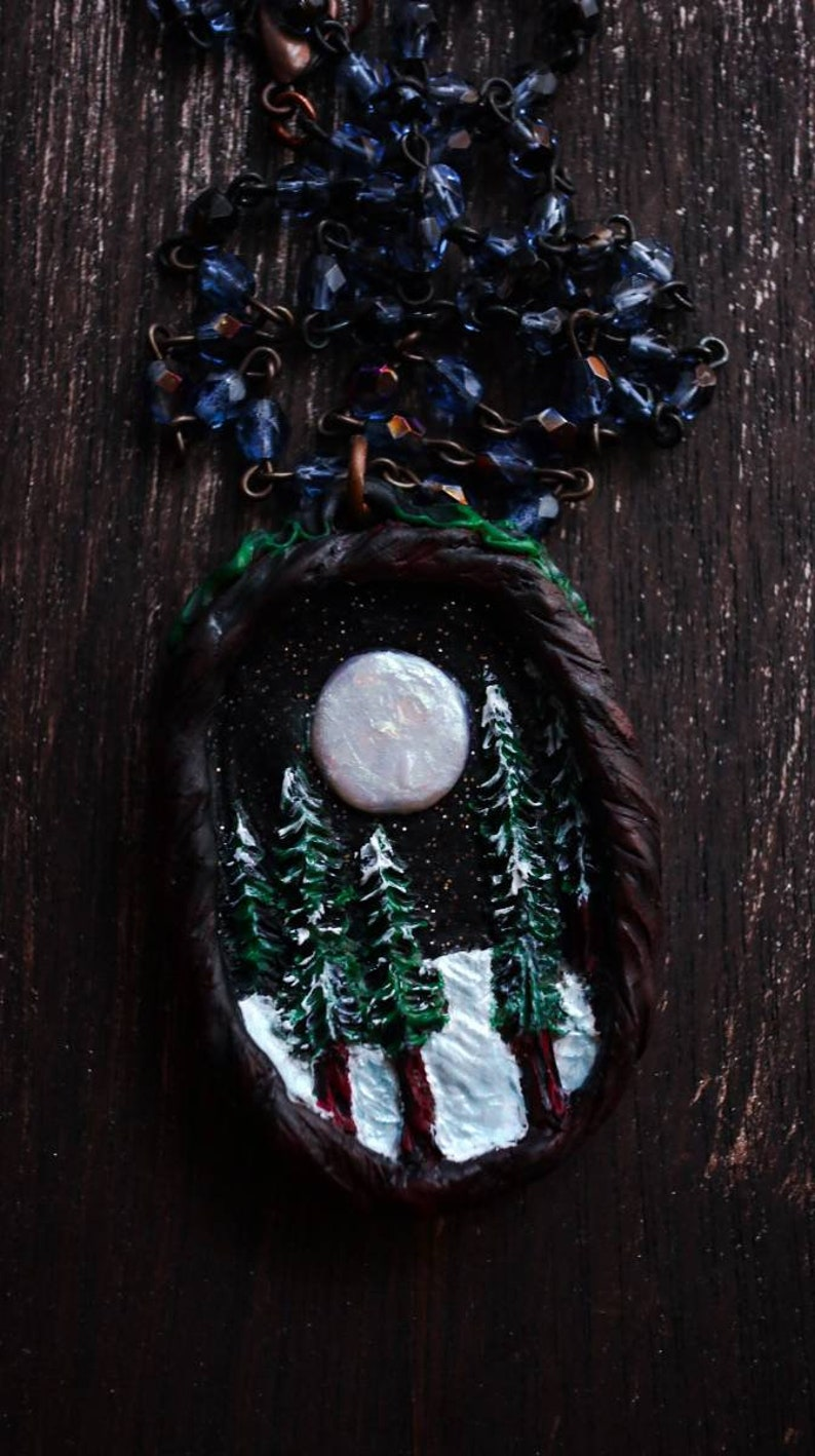 Opal Moon Clay Necklace
