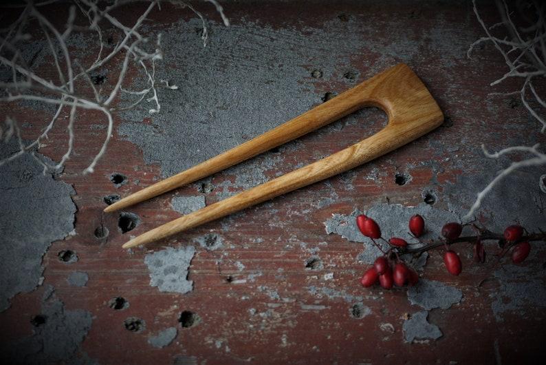Handmade apple tree wooden haircombpinwood fork eco organichandcraft wood beeswax flax oil 2 prong hair accessories unique Scandinavian