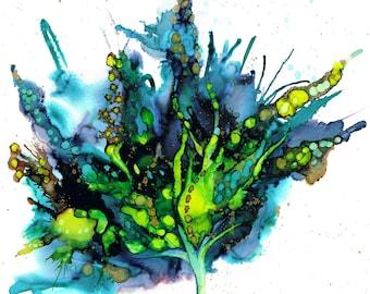 Blue Green Botanical. Print of an original ink painting
