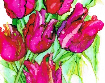 Tulips, Alcohol Ink Painting, Art Print, Red, Pink, Green, Spring Flowers