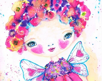 Flossy, Flower Fairy, Painting, Ink, Watercolour, Whimsical, Cute