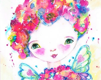 Fliss, Flower Fairy, Painting, Ink, Watercolour, Whimsical, Cute