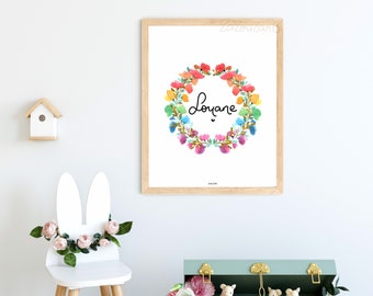 First name wreath of flowers