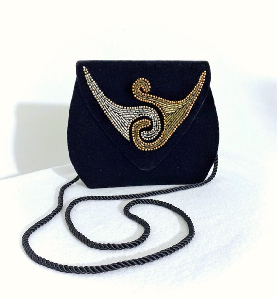 Caressa 1980s beaded  evening bag/ 1980s crossbody