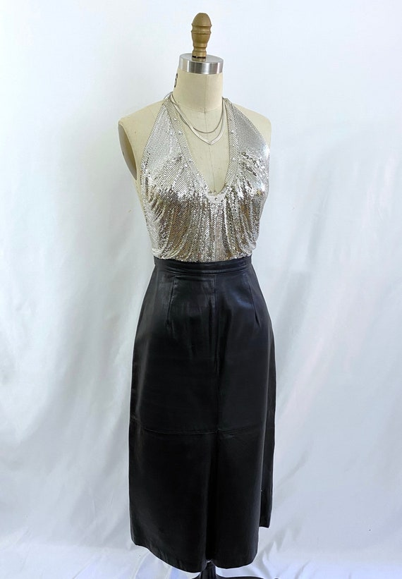 Vintage Whiting and Davis Metal Mesh top/1970s sil