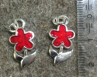 Charm/Pendant-enameled flower + stalk with leaves-metal/enamel-12 mm