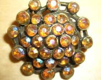 Straß Buttons - old brass with Topaz AB in various variations - Vintage