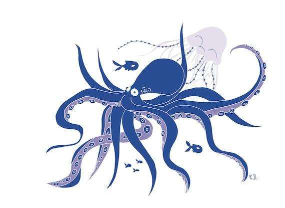 illustration affiche  u00e0 t u00e9l u00e9charger pieuvre et m u00e9duse