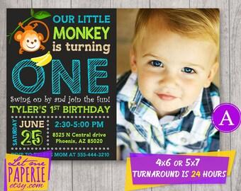 Monkey invite etsy monkey invitation monkey birthday invitation with photo monkey first birthday monkey 1st birthday monkey invite little monkey party filmwisefo