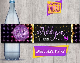 Dance party bottle labels, Disco party bottle labels, Dance party labels, Disco party birthday, Dance party supplies, Neon party, Glow