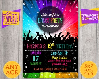 Dance Party Invitation, Disco Dance Party Invitation, Disco Party invite, Disco Birthday Party, Dance Birthday Invitation, Neon Glow Rainbow
