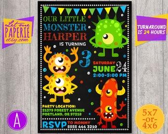Monster birthday invitation, Monster Invitation, Monster Party Invite, Monster Chalkboard Invitation, Monster 1st 2nd 3rd Birthday Invite