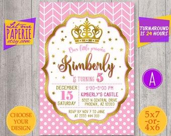 Pink and Gold Princess Invitation, Princess birthday Invitation, Gold Glitter invitation, Gold crown Invitation, Glitter, Polka dot, Chevron