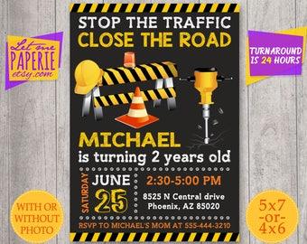 Construction birthday invitation, Digger invitation, Under Construction Invitation, Printable Construction Party Invite, dump truck invite
