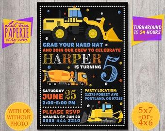 Construction birthday invitation, Digger invitation, construction party, under construction invite, dump truck invite,Printable Construction