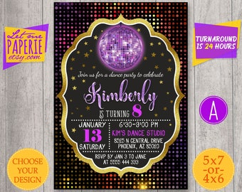 Disco ball invitation, Dance Party Invitation, Black and gold, Disco Party invite, Disco Birthday Party, Dance Birthday Invitation, neon