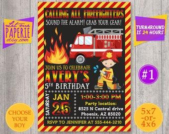 Firefighter Invitation, Fireman Invitation, Firetruck Invitation, Firefighter Birthday party, Fireman invite, Firetruck Birthday Invitation