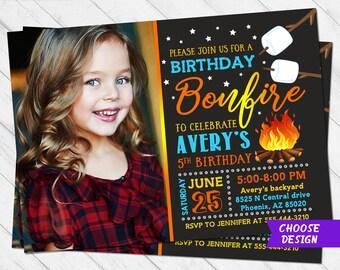 Bonfire Invitation Birthday Camping Smores Camp Invite Campfire Out
