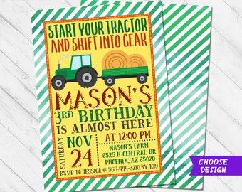 Tractor Birthday Invitation Template Editable John Deere Etsy