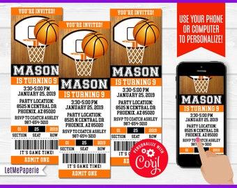 Basketball Ticket Invitation Template Editable Birthday Printable Party Printables Invite DIY