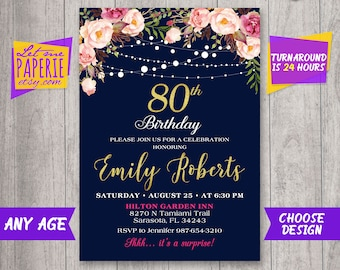 80th Birthday Invitation Navy And Gold Floral Women Blush Pink Invite Rustic Party Eighty