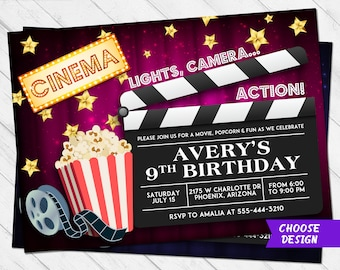 movie party invite etsy