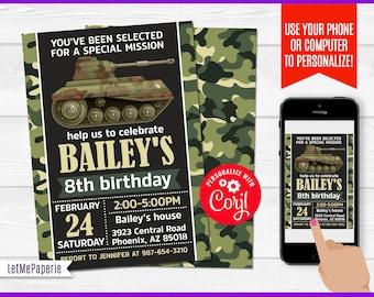 Army Invitation Military Birthday Theme Party Invite Camo Printable Self Edit Boys