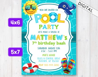Pool Party Birthday Invitation Boys Pool Party Invite