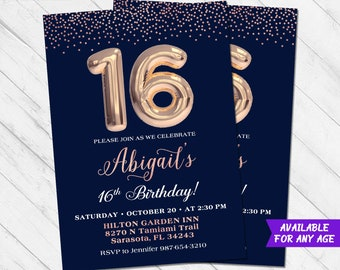 16th Birthday Invitation Sweet Sixteen 16 Glitter Invite Confetti Party Navy Pink Gold