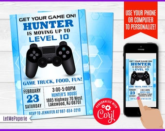 Video Games Invitation Template Editable Video Game Party Etsy