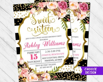 Sweet 16 Invitation Sixteen 16th Birthday Invite Party Gold Glitter Flowers