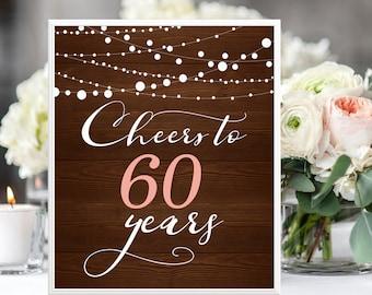 Rustic Cheers To 60 Years Sign 60th Birthday Anniversary Garland Digital