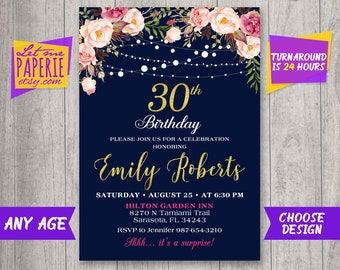 30th Birthday Invitation Navy And Gold Floral Women Blush Pink Invite Rustic Party Thirty