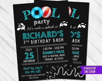 Pool party invite etsy pool birthday invitation pool party invitation pool birthday invite pool party invite chalkboard boy pool invitation 5th 6th 7th 9th filmwisefo