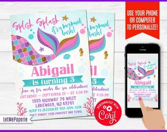 Mermaid Invitation Template Editable Birthday Pool Party Invite Under The Sea Printables