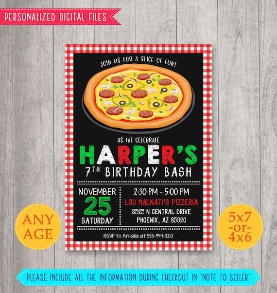 Pizza Party Invitation Pizza Birthday Invitation Pizza Etsy
