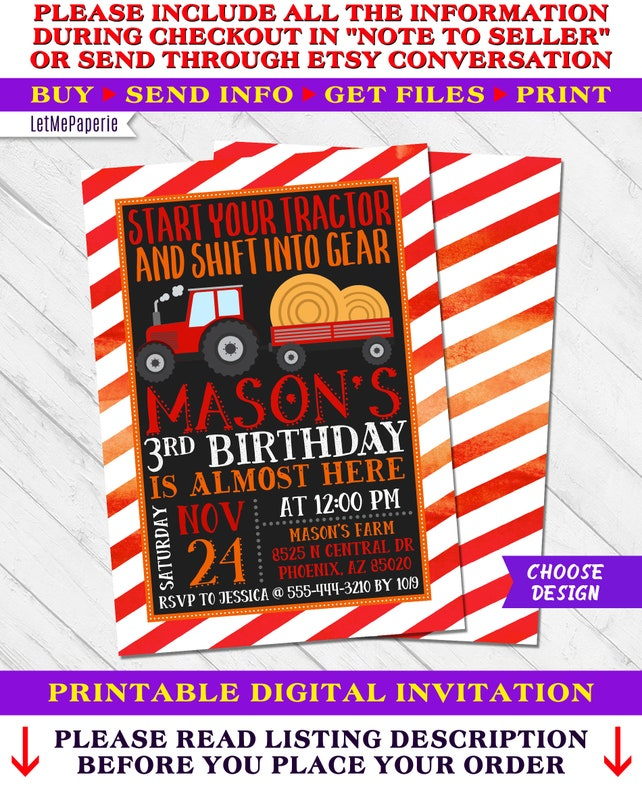 Tractor Birthday Invitation John Deere Farm Invite Party Chalkboard First