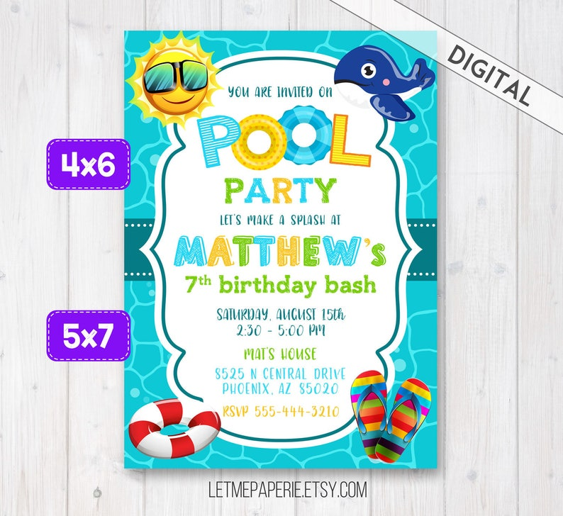 Pool Party Invitation Swimming Invite Girl