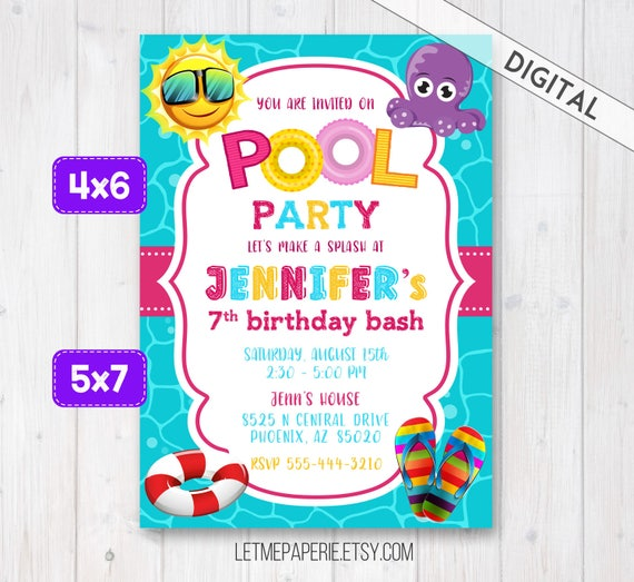 Pool Party Invitation Swimming Pool Party Invite Girl Pool Etsy