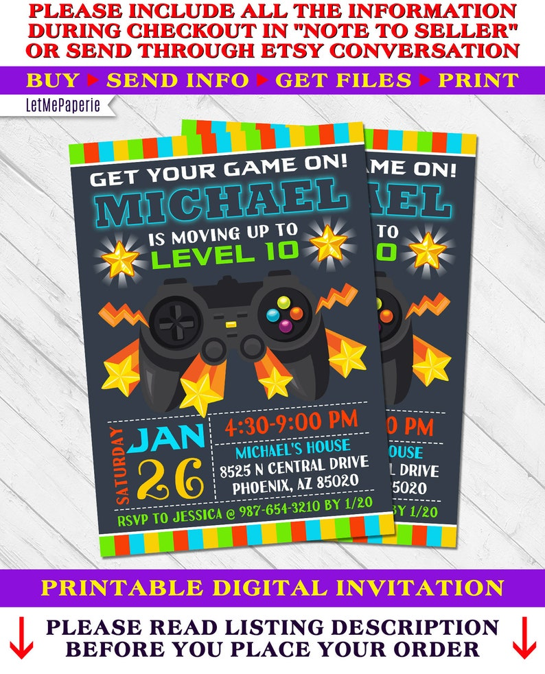 Video Game Party Invitation Video Game Invitation Video Game